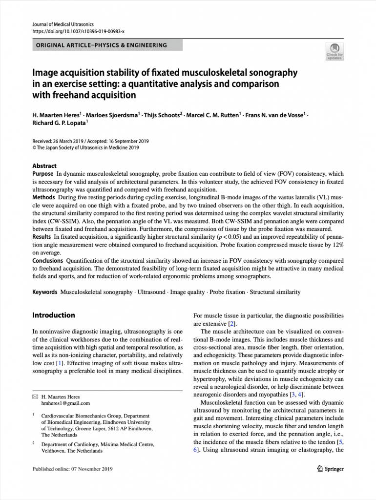 Image acquisition stability of fixated musculoskeletal sonography in an exercise setting: a quantitative analysis and comparison with freehand acquisition