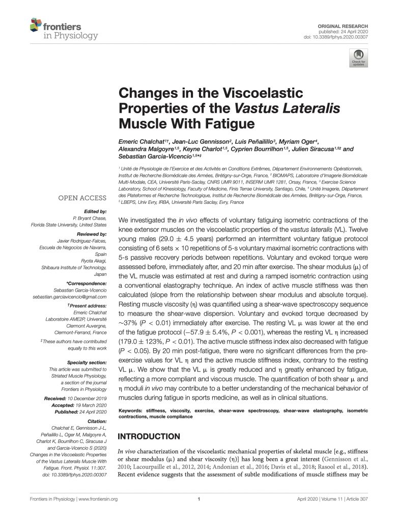 Changes in the Viscoelastic Properties of the Vastus Lateralis Muscle With Fatigue
